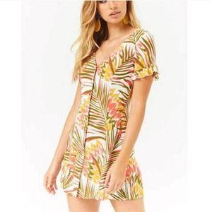 F21 Tropical Leaf Print Button Down Mini Dress